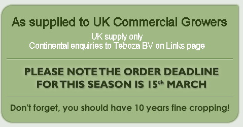UK Mainland supply only - Continental enquiries to Teboza BV on Links page - Crowns start at £1 each for 10 – 20 crowns and are discounted for 25+ - Delivery cost for fewer than 15 crowns is £2.50 - Don't forget, you should have 10 years fine cropping!